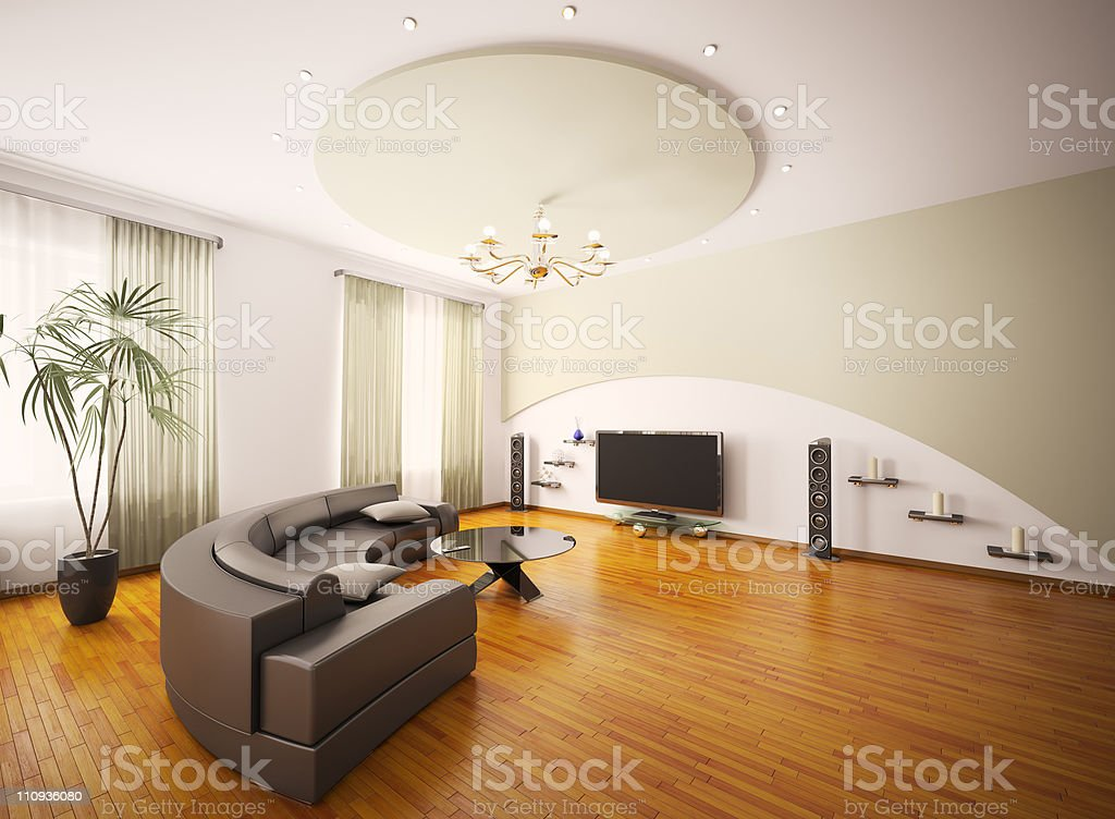 Modern living room interior 3d render royalty-free stock photo