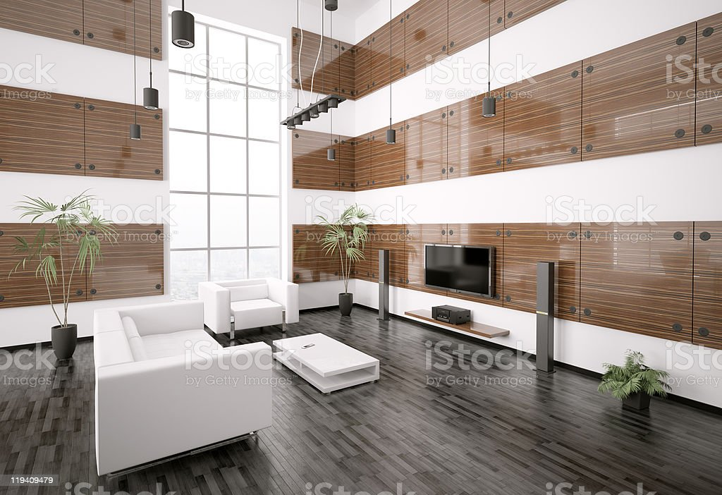 Modern living room interior 3d render stock photo