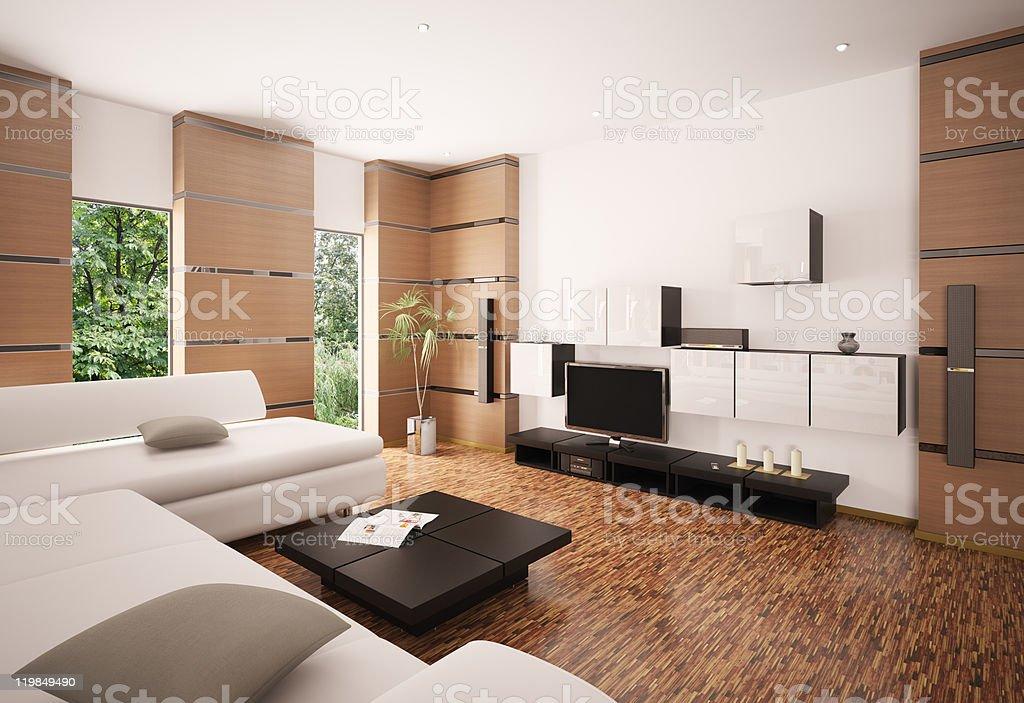 Modern living room interior 3d render royalty-free stock photo