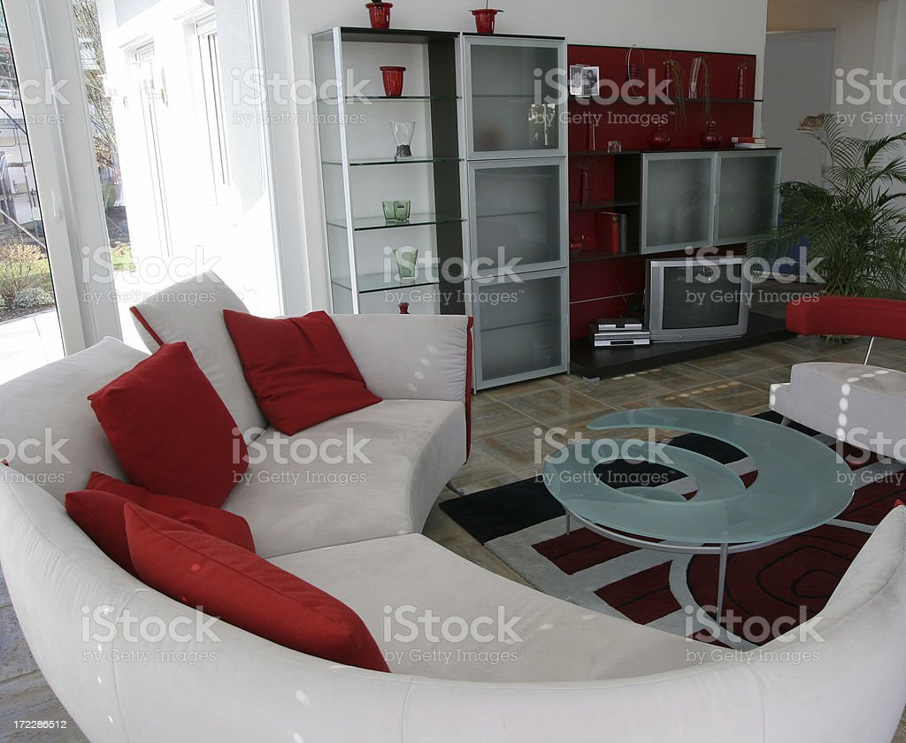 Modern living room interior, red and white royalty-free stock photo