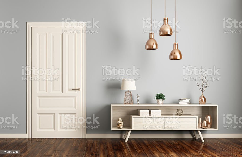 Modern living room interior with door 3d rendering stock photo