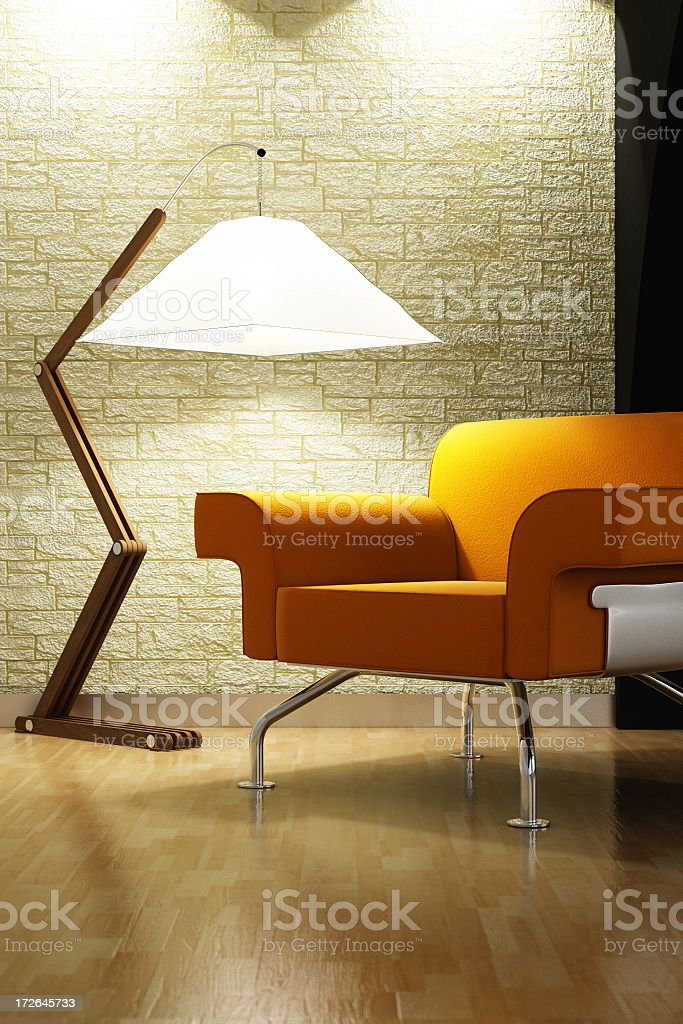 Modern living room interior with triangle lamp and couch stock photo