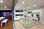 Modern living room lighting with decoration at night