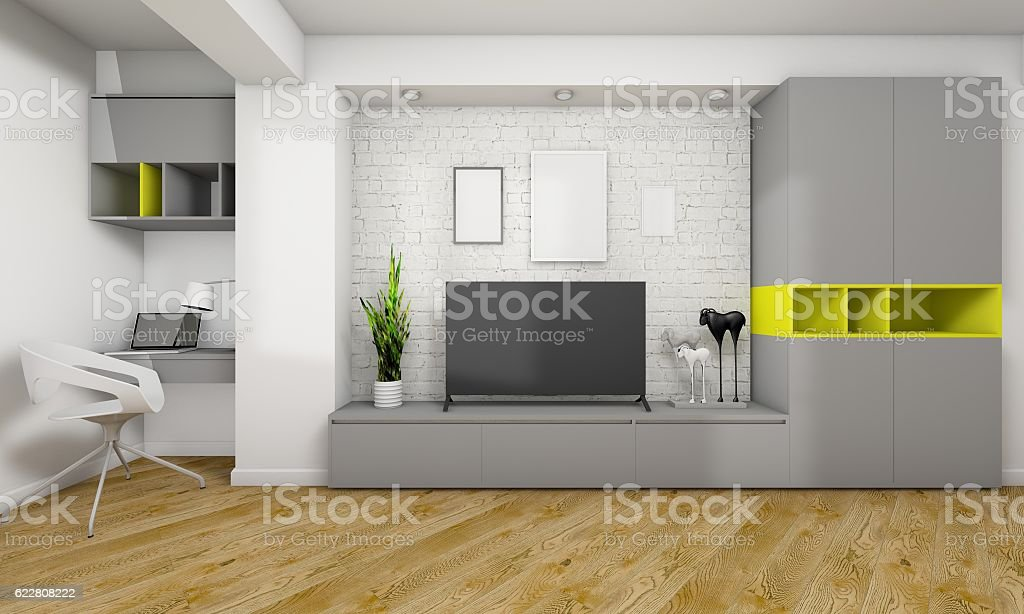 Modern living room stock photo
