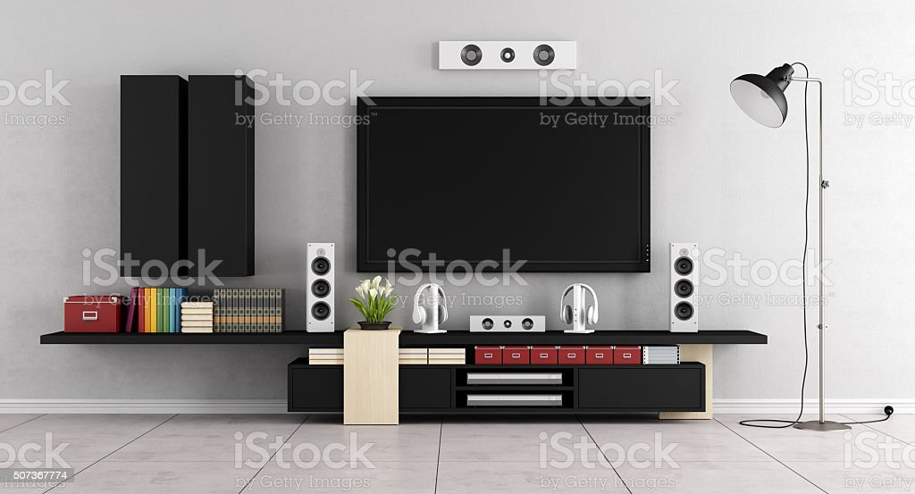 Modern living room room with TV stock photo