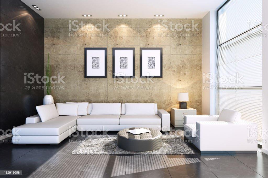 Modern Living Room stone walls stock photo