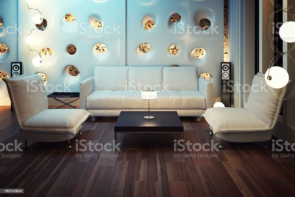 Modern living room with 3D render royalty-free stock photo