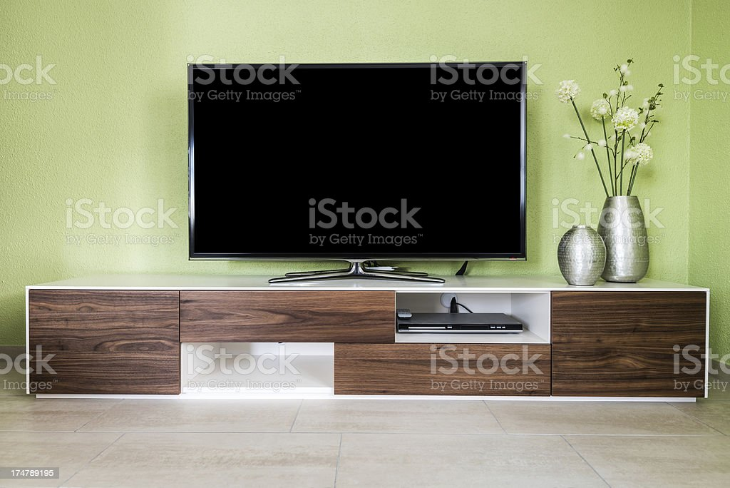 modern living room with 55'' TV screen stock photo