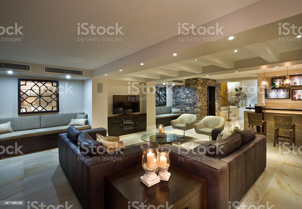 Modern living room with a bar stock photo