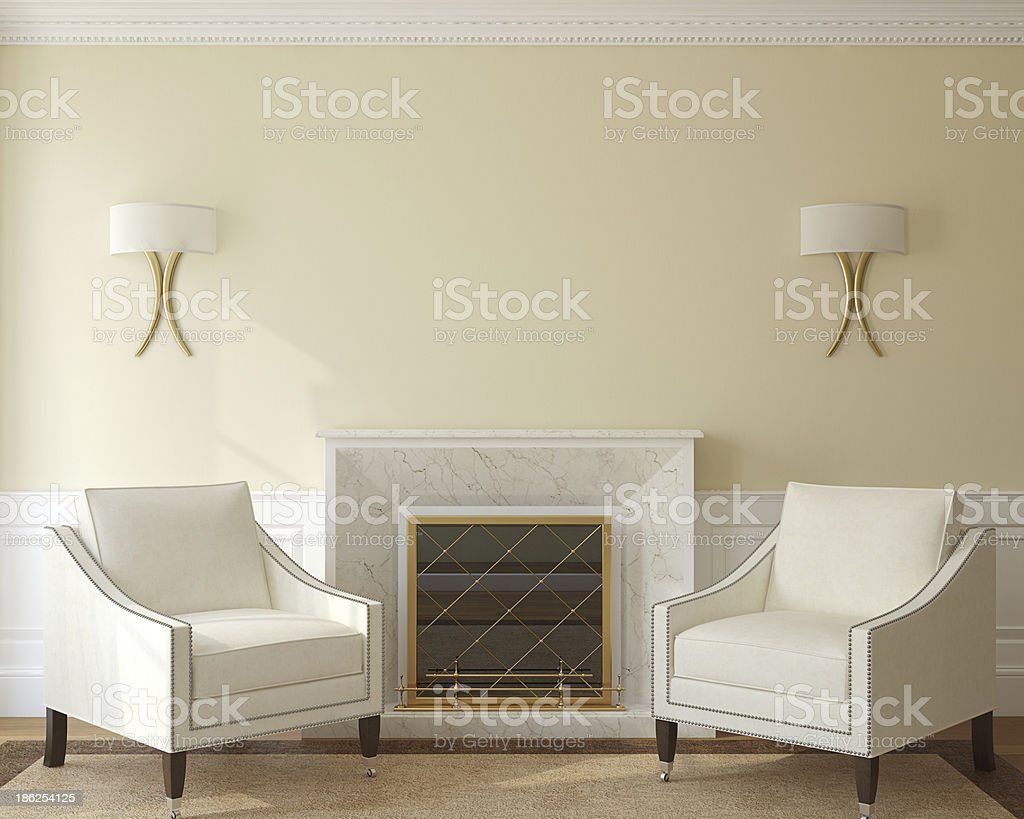 A modern living room with a fireplace stock photo