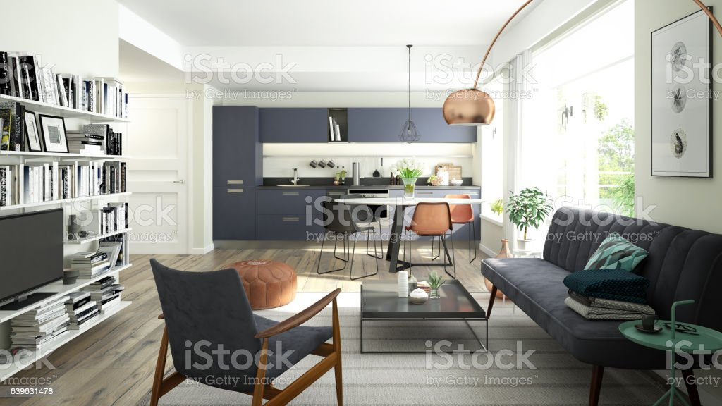 Modern living room with an open kitchen stock photo