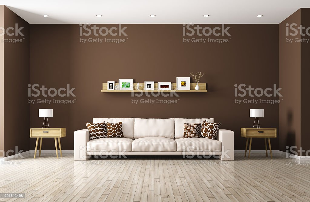 Modern living room with beige sofa 3d rendering stock photo