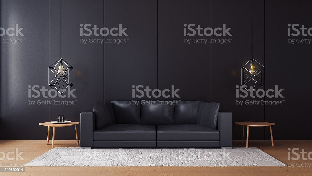 Modern  living room with black wall stock photo