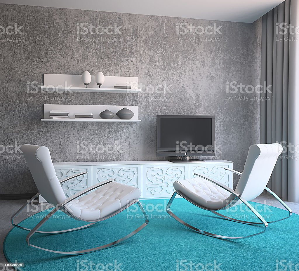 Modern living room with chairs and rugs royalty-free stock photo