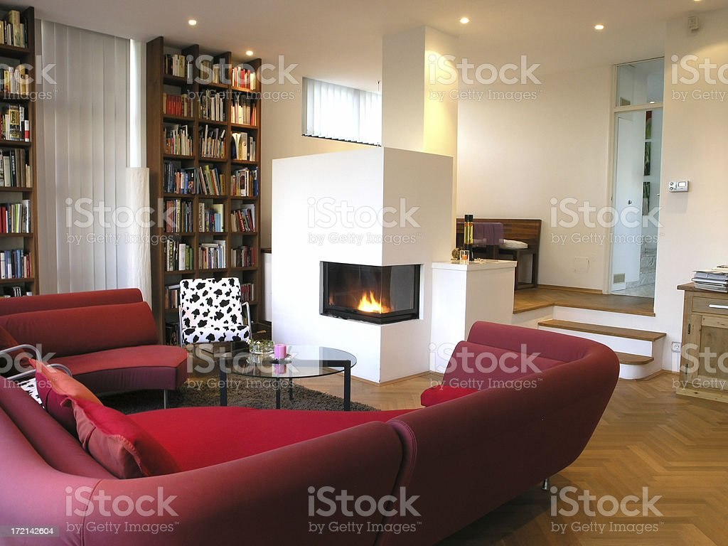 modern living room with fireplace royalty-free stock photo