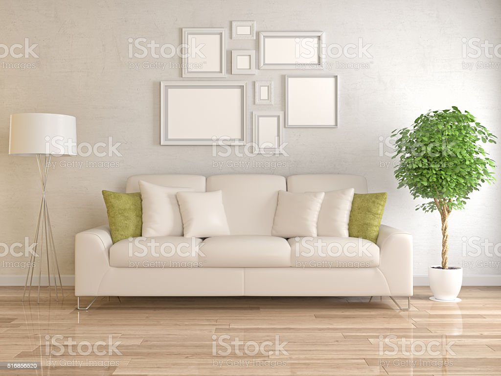 Modern living room with picture frame on wall stock photo
