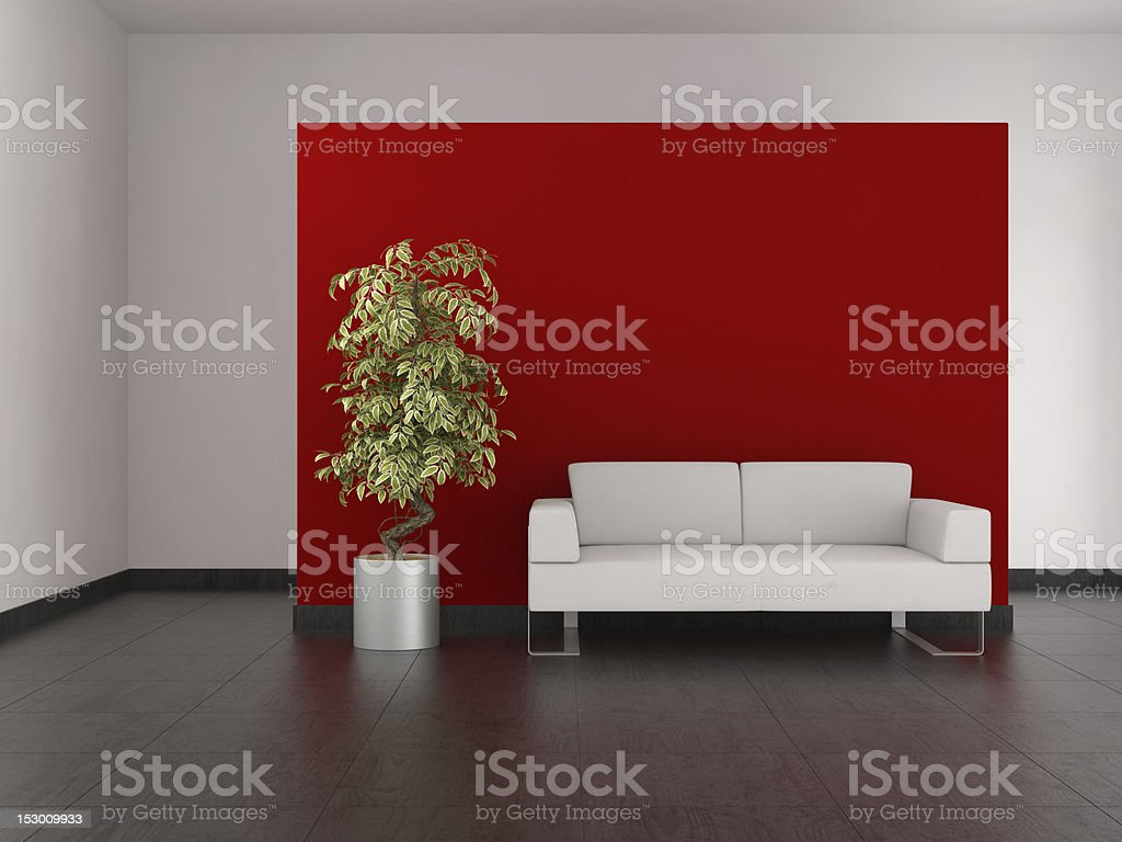 modern living room with red wall and tiled floor royalty-free stock photo