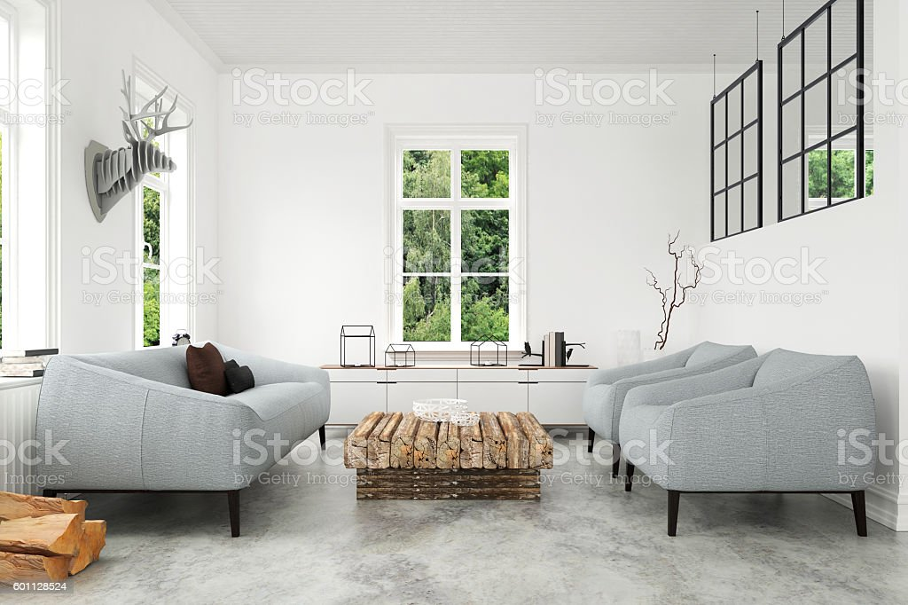 Modern Living room with sofa and armchairs stock photo