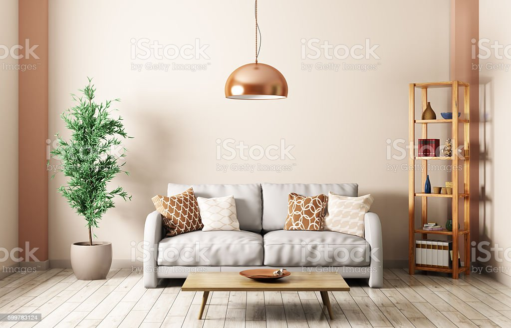 Modern living room with sofa interior 3d rendering stock photo