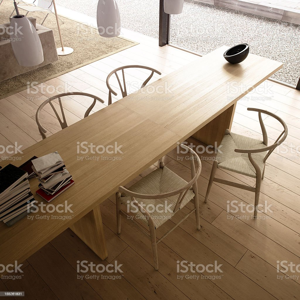 Modern living room with table and chairs stock photo