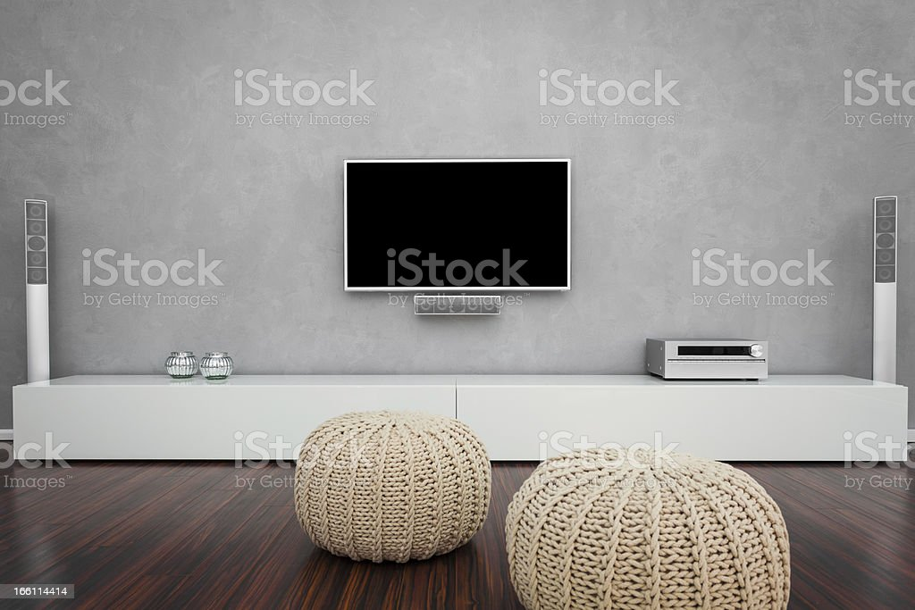 Modern Living Room with TV stock photo