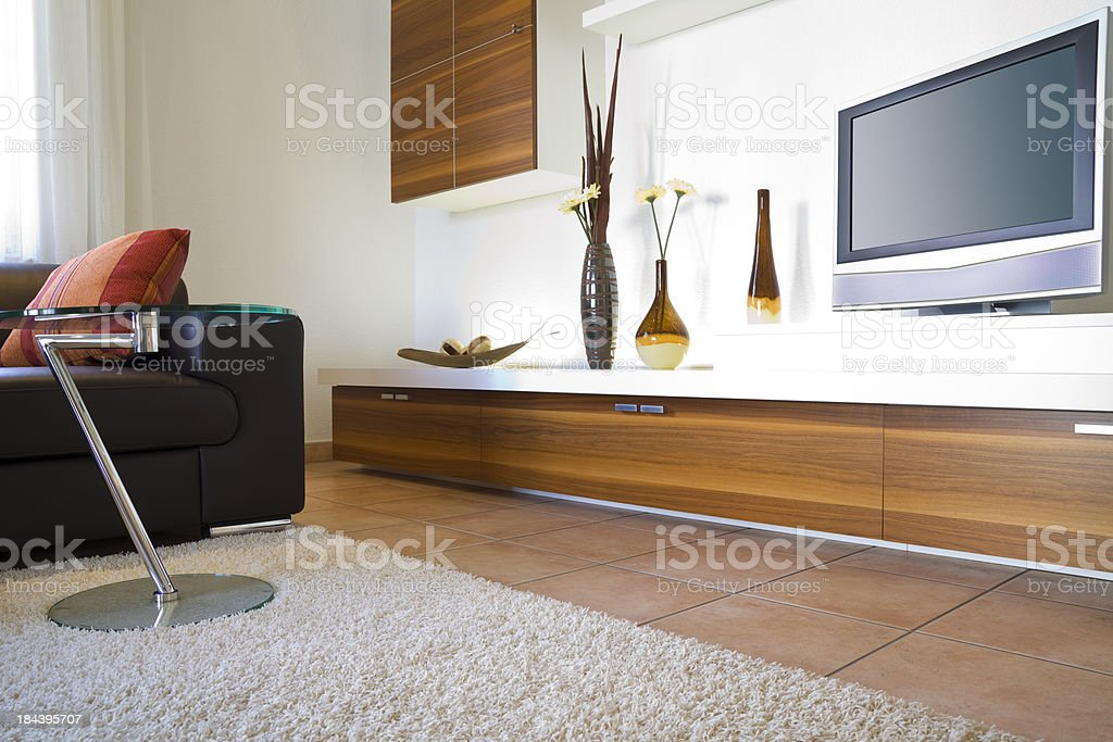 Modern Living Room with TV royalty-free stock photo