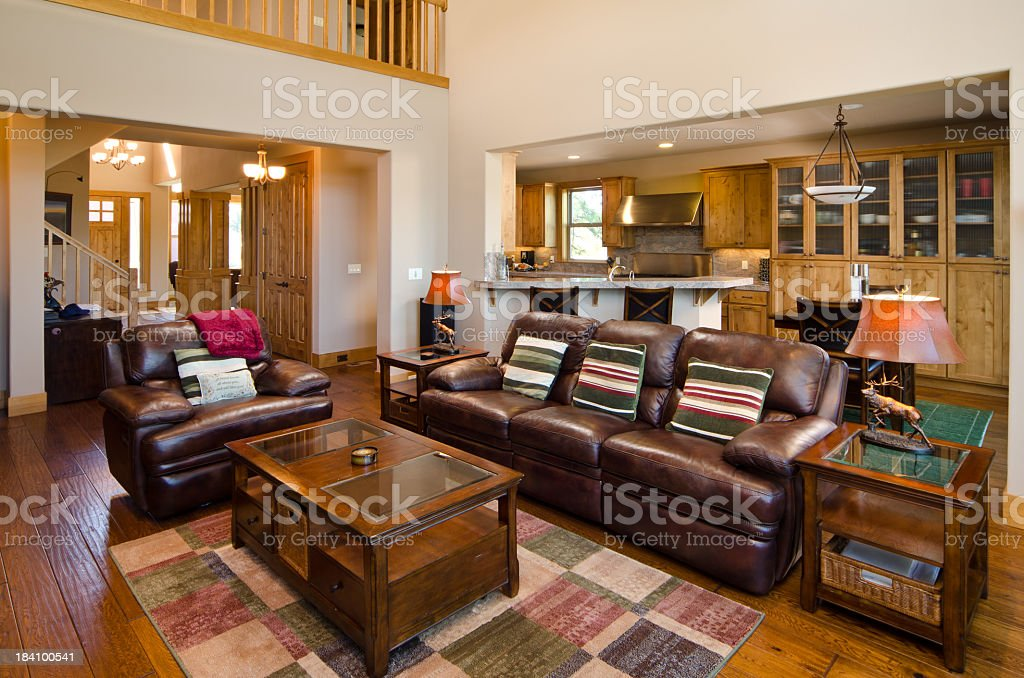 Modern living room with view of kitchen royalty-free stock photo