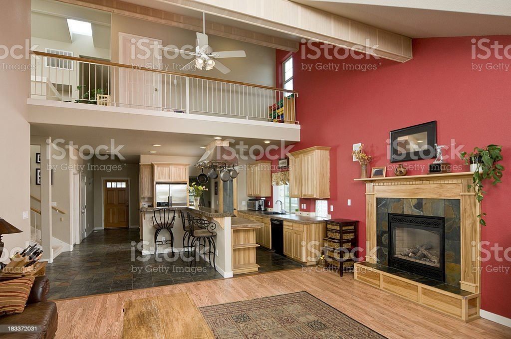 Modern living room with view  up stairs royalty-free stock photo