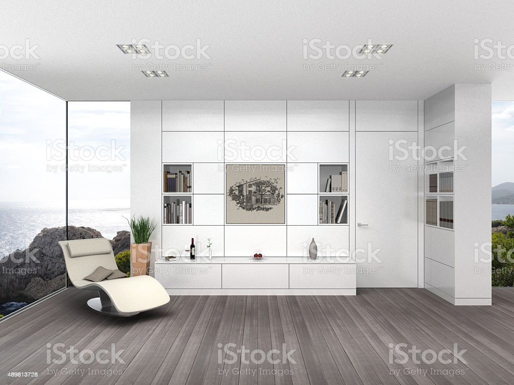 modern living room with white wall boarding stock photo