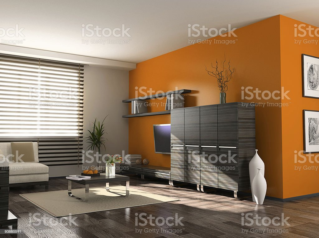 Modern living space interior with orange walls stock photo