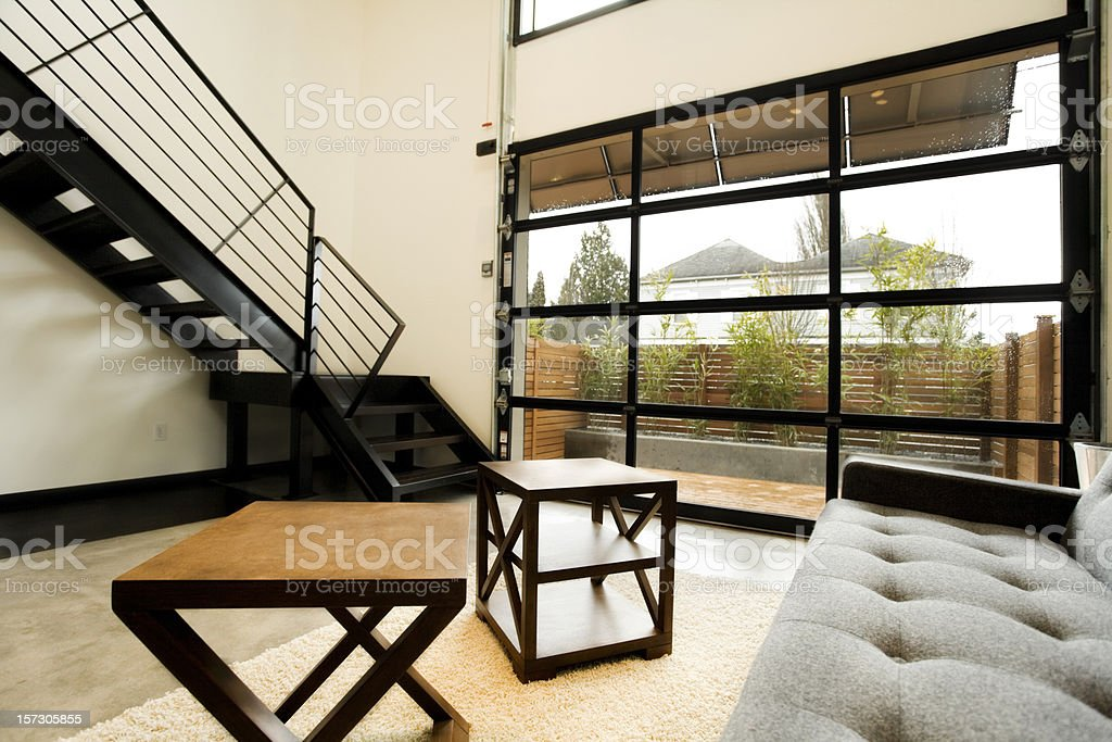 Modern Living Space with Natural Light stock photo