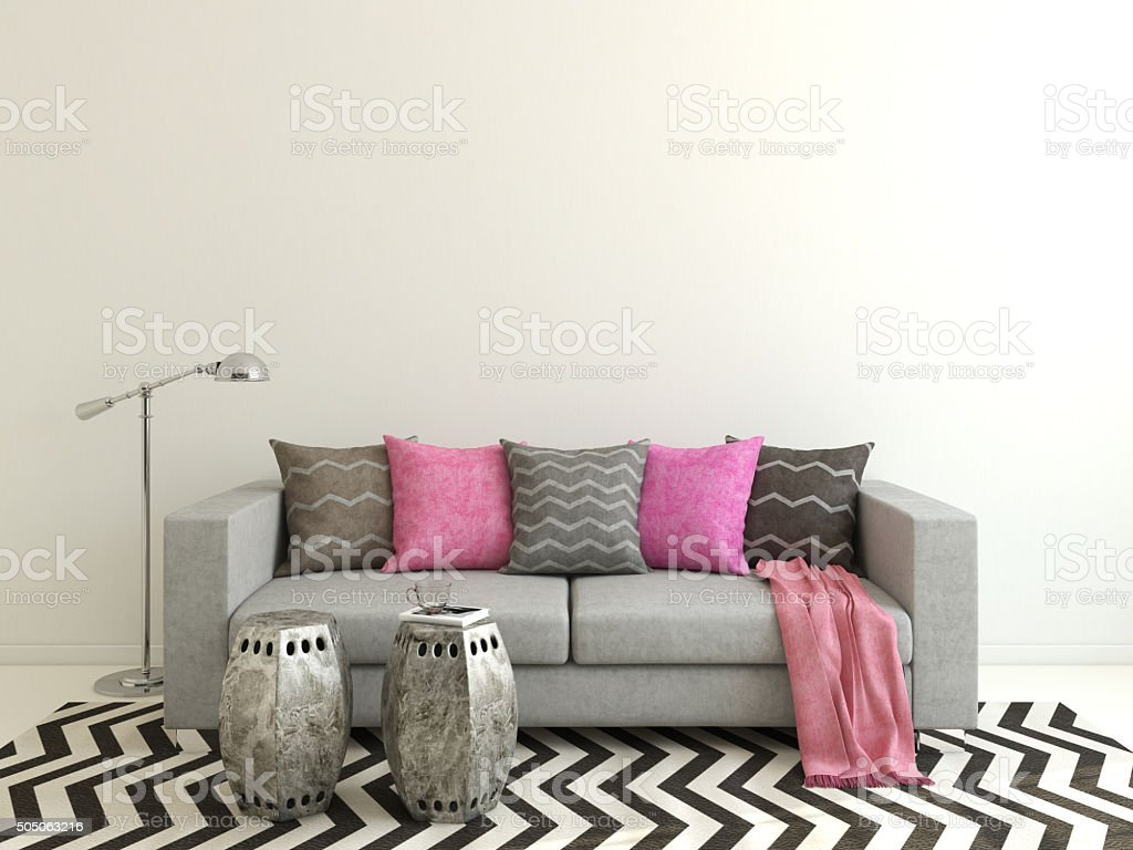 Modern living-room. 3d rendering. stock photo