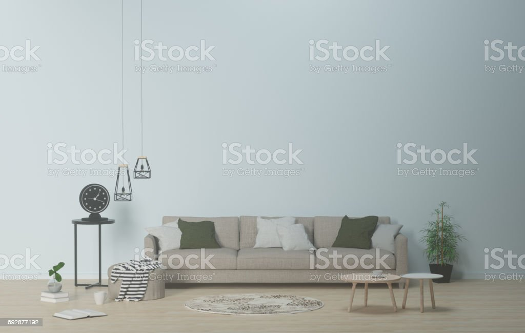 Modern living-room interior in scandinavian style with sofa and furniture,table,carpet and lamp 3d rendering stock photo