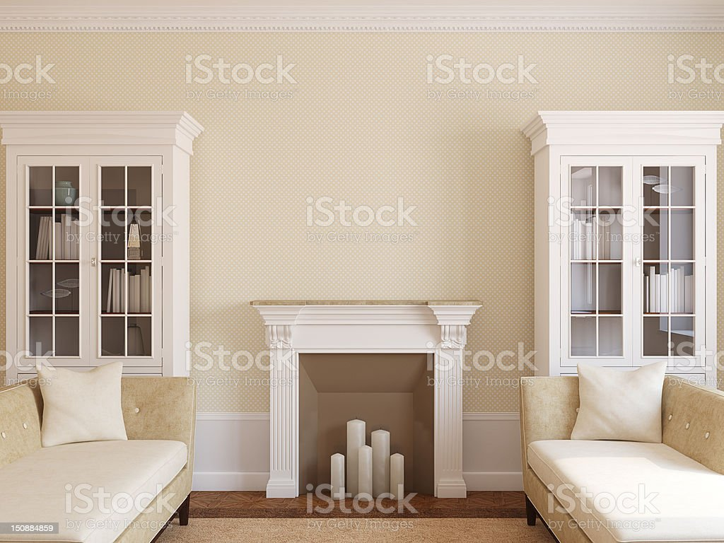 Modern living-room with fireplace. royalty-free stock photo