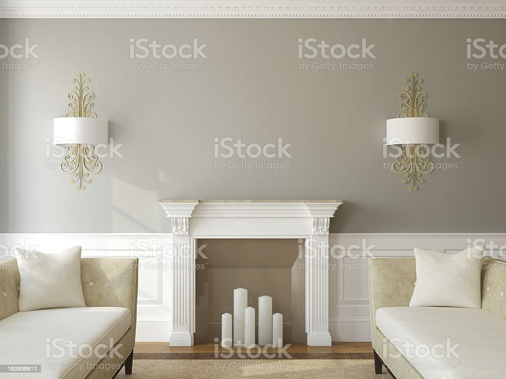 Modern living-room with fireplace. stock photo