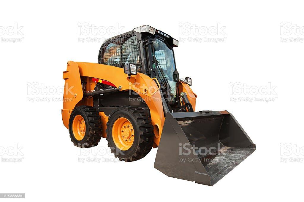Modern loader excavator construction machinery equipment isolate stock photo