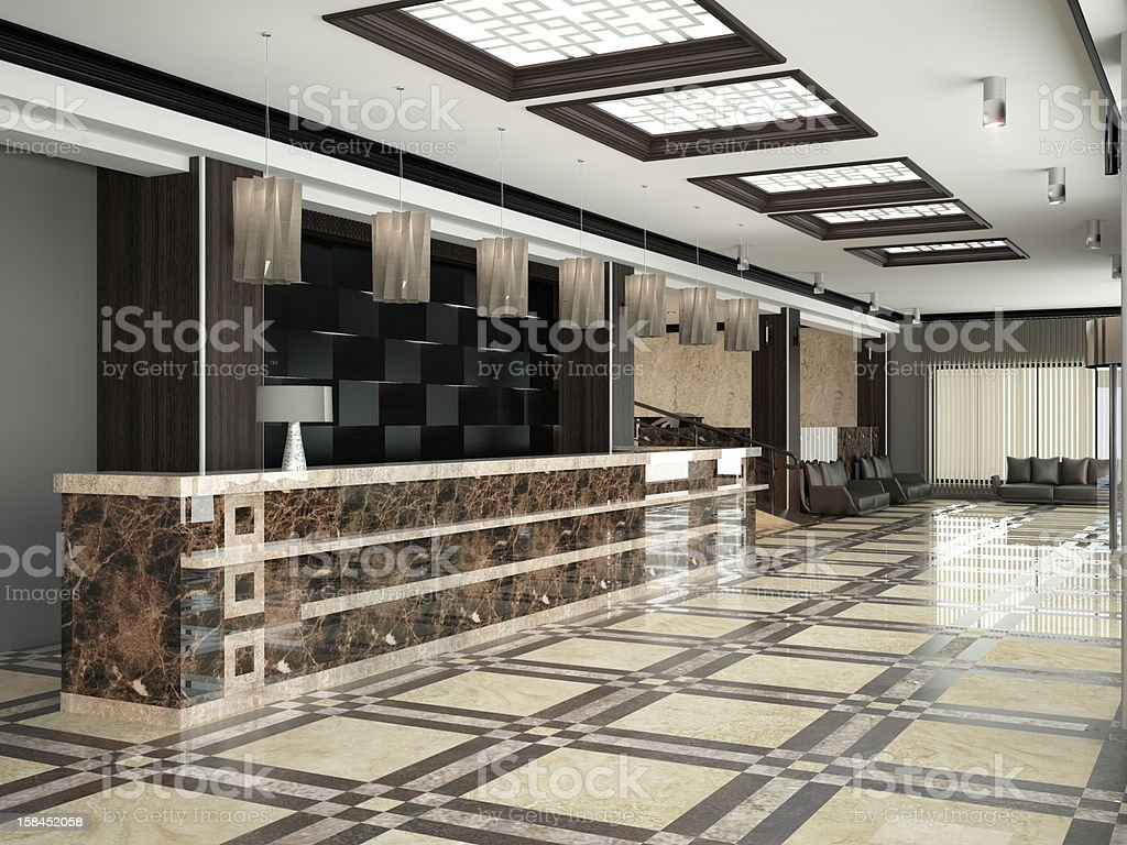 Modern lobby for hotel stock photo