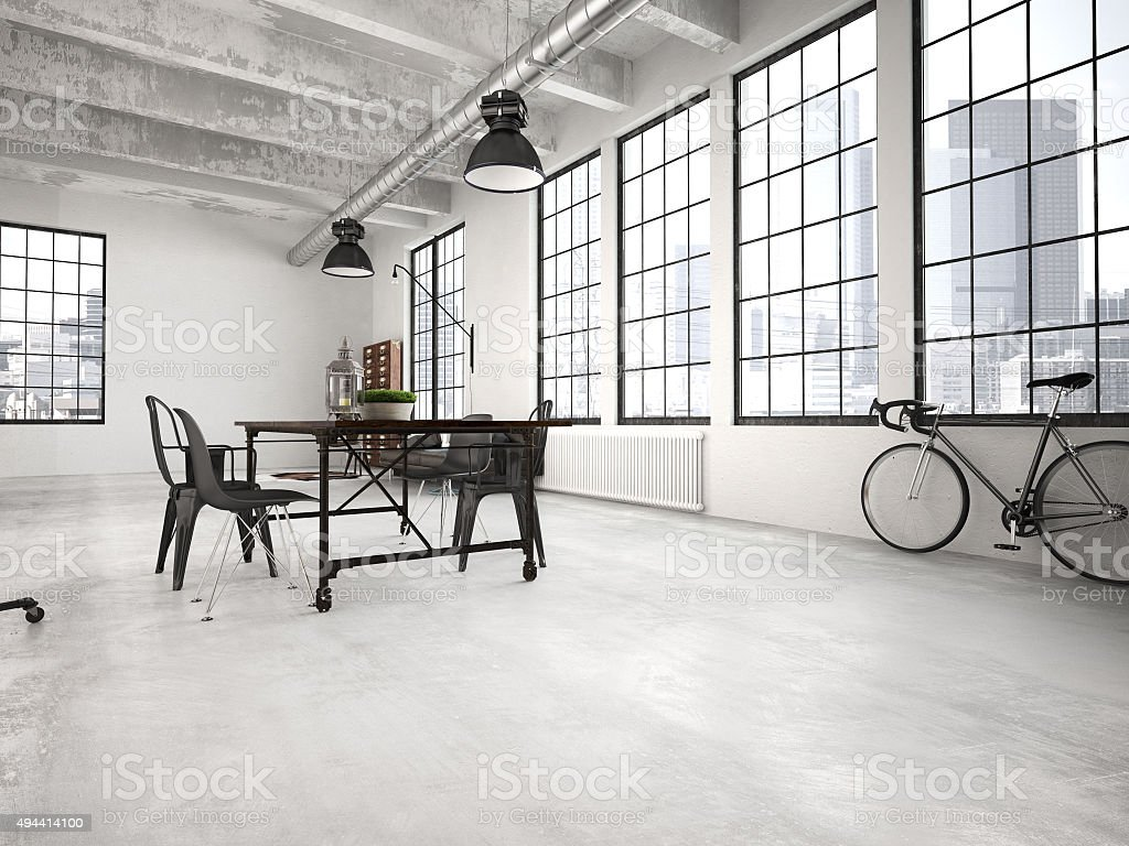 modern loft. 3d rendering stock photo