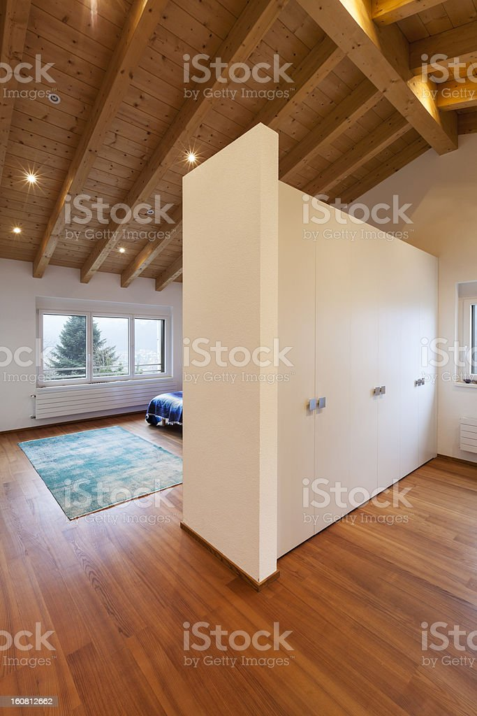 modern loft, bedroom view from passage royalty-free stock photo