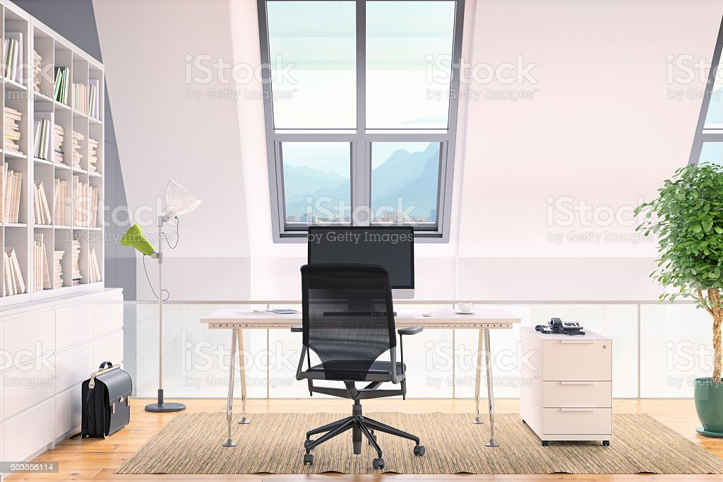 Modern Loft Home Office Interior stock photo