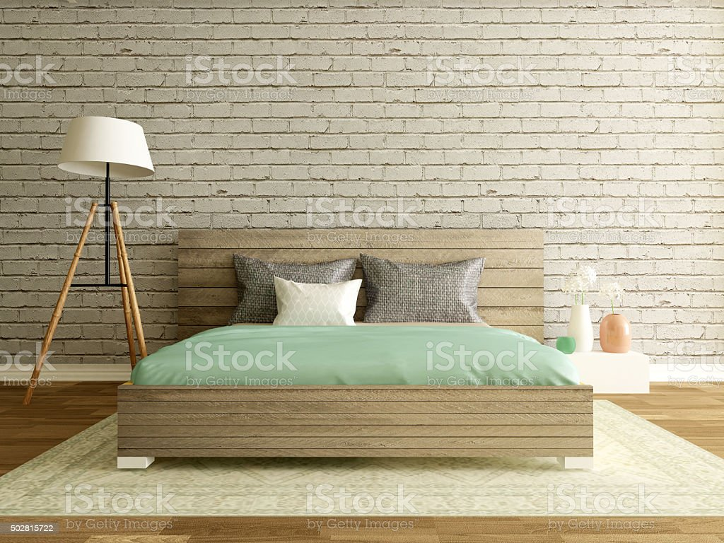 modern loft interior, bedroom with brick wall stock photo