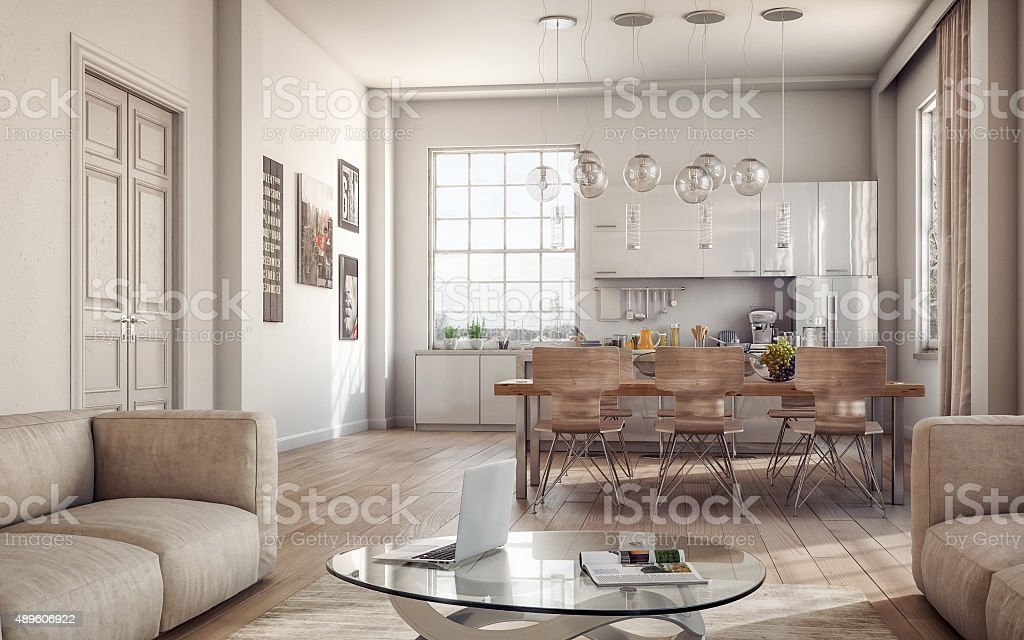 Modern Loft Interiors stock photo