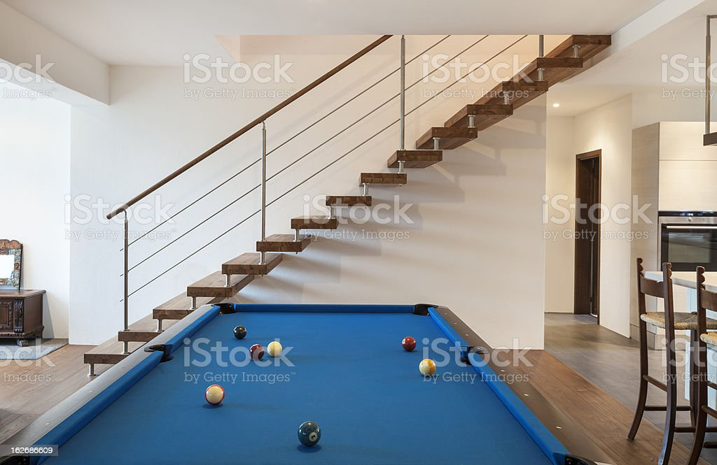 modern loft, room with billiards royalty-free stock photo