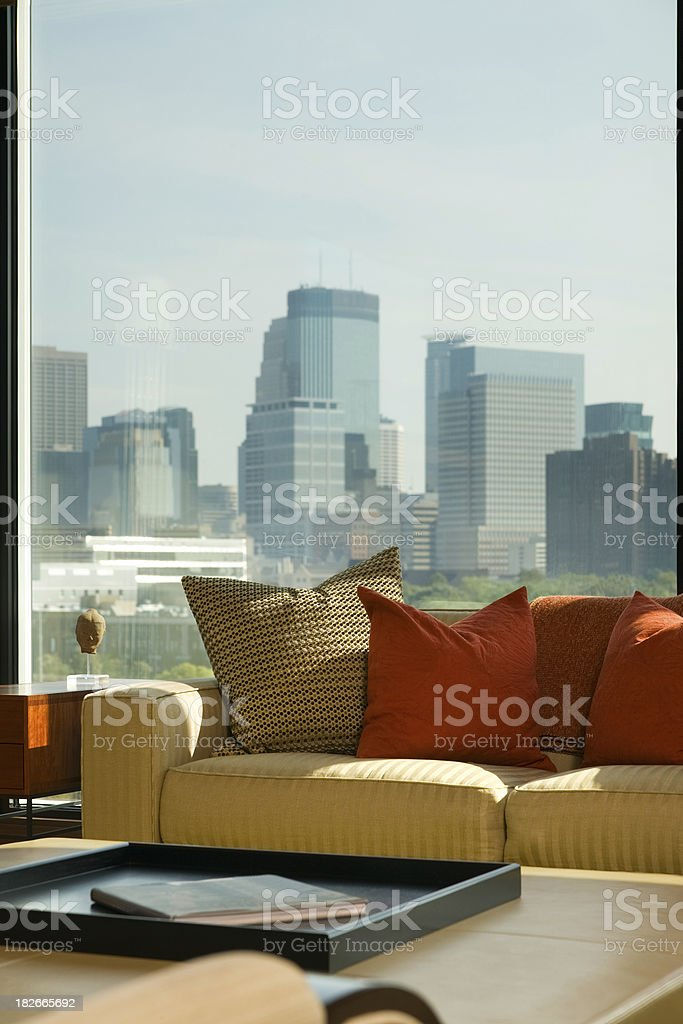 Modern loft style condo with view to skyline. royalty-free stock photo