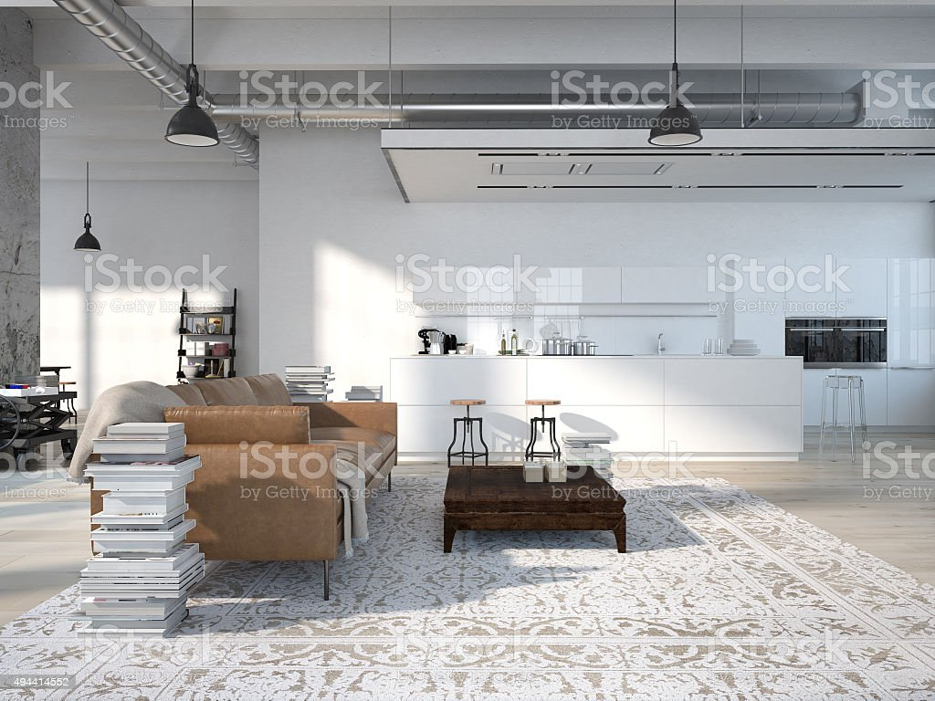 Modern loft with a kitchen .3d rendering stock photo