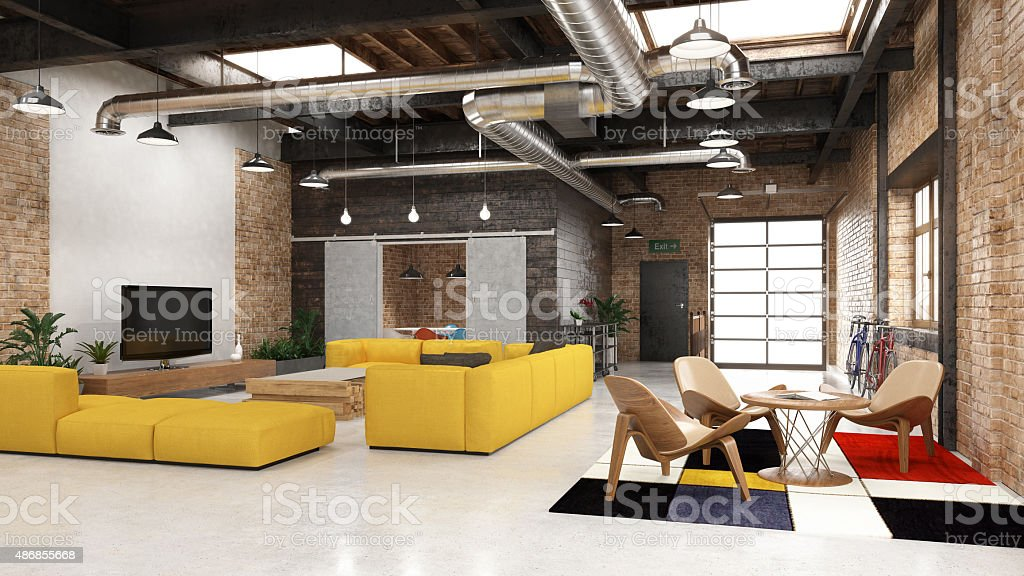 Modern loft with industrial details stock photo