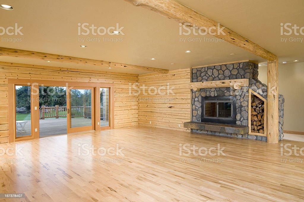 Modern log home empty living room stock photo
