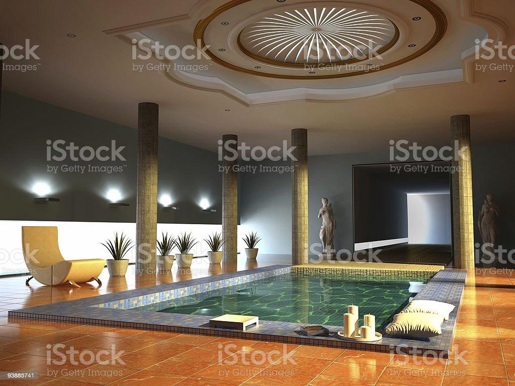 Modern looking spa interior with pillars stock photo