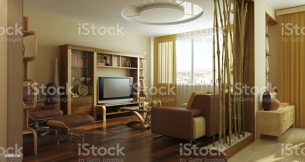 modern lounge room interior 3d rendering royalty-free stock photo