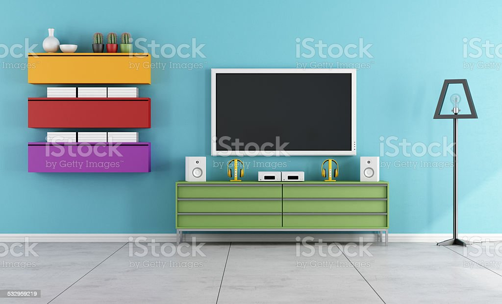 Modern lounge with TV stock photo